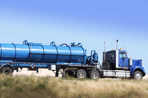 Truck carrying brine